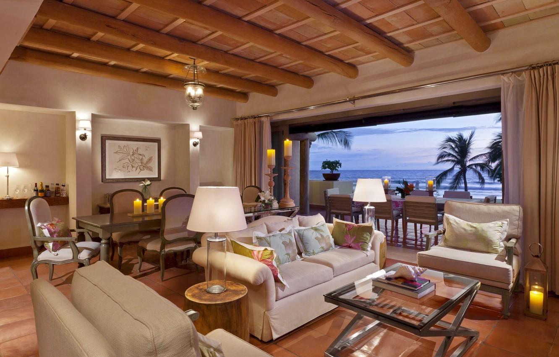 Photo wallpaper sea, design, lamp, sofa, chairs, interior, candles, chairs, tables, table, interior, Palma., resort, suite, desigen, …