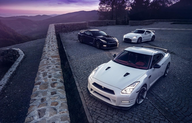 Photo wallpaper GTR, Moon, Nissan, Sky, Front, Black, Lights, White, R35, 370Z, Nigth