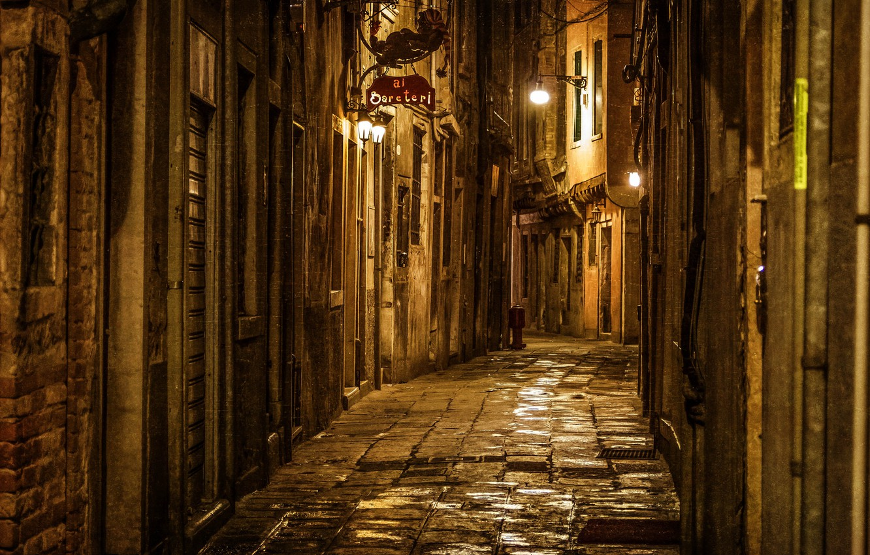 Photo wallpaper road, light, night, the city, stones, street, the evening, Italy, Venice, plate, Italy, Venice