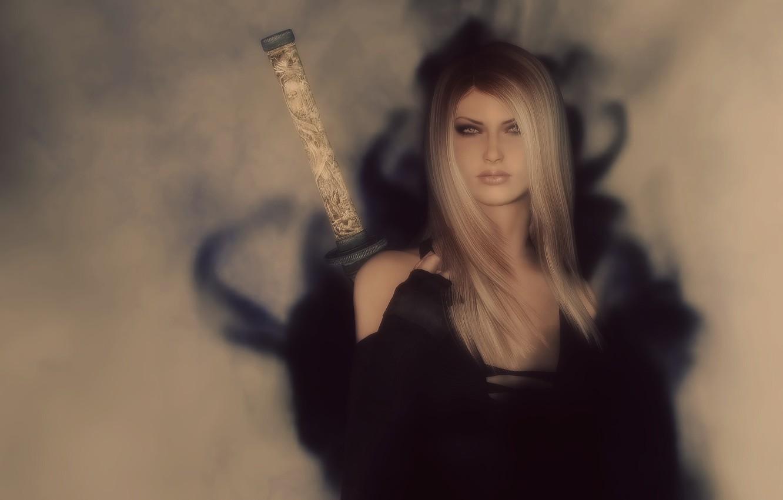 Photo wallpaper girl, rendering, background, sword