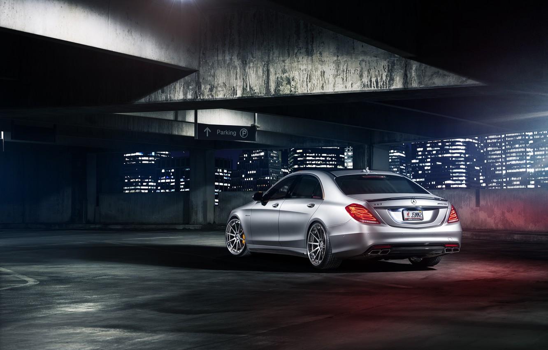 Photo wallpaper night, rear, parking, S63, Mercedes-Benz