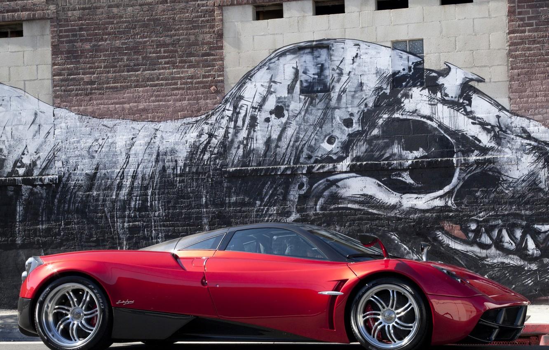 Photo wallpaper Red, Figure, Machine, Dinosaur, Red, Pagani, Car, Car, Cars, Pagani, To huayr