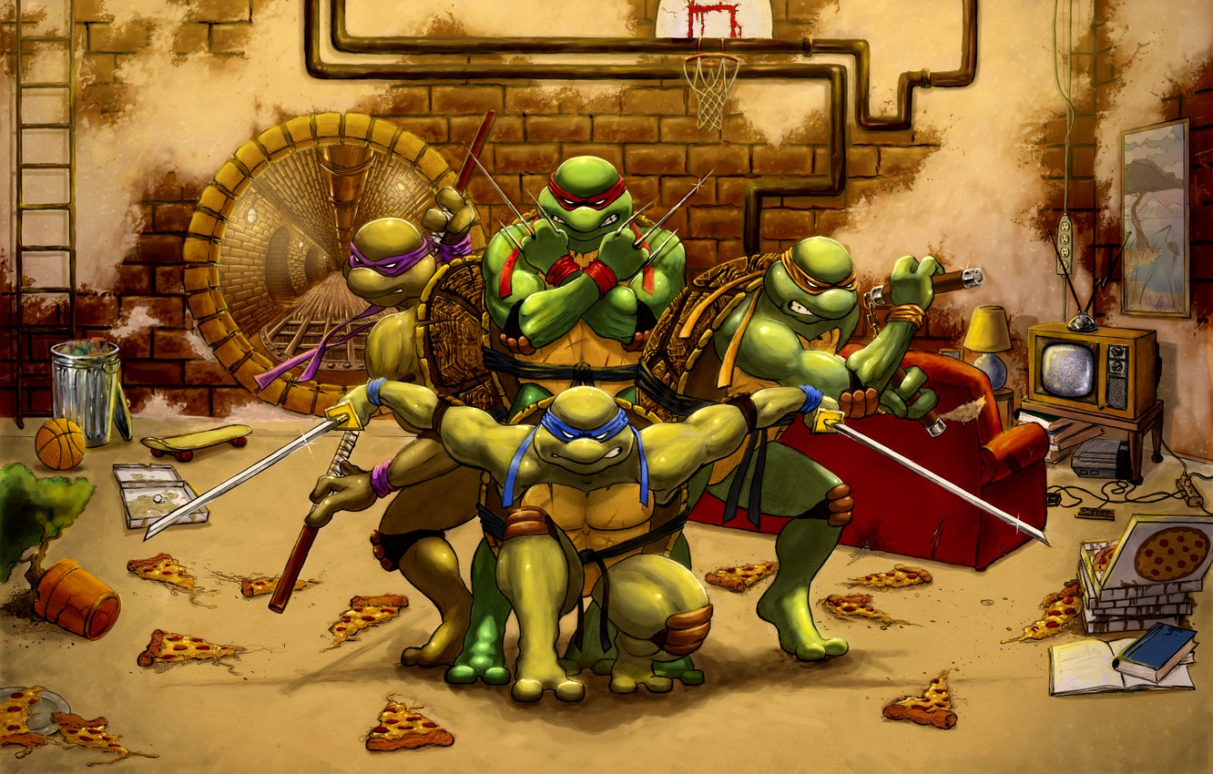 Photo wallpaper Rafael, Donatello, Leonardo, Michelangelo, Teenage Mutant Ninja Turtles, teenage mutant ninja turtles