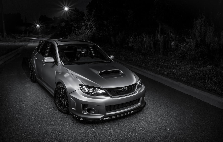 Photo wallpaper Subaru, light, silver, road, wrx, impreza, night, front, sti