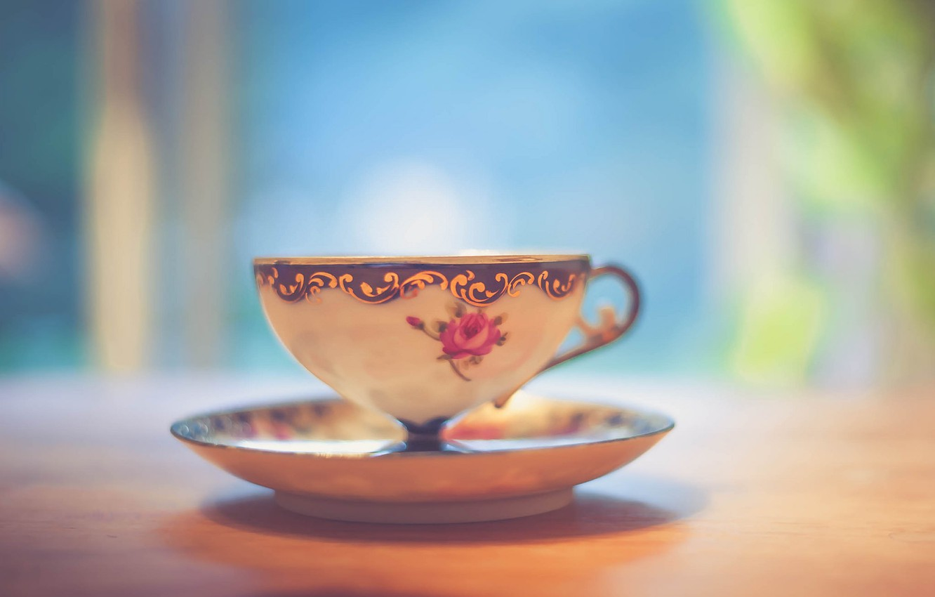 Photo wallpaper light, wood, cup, bokeh, shadows, tea, table, feed, saucer, teacup, beverage