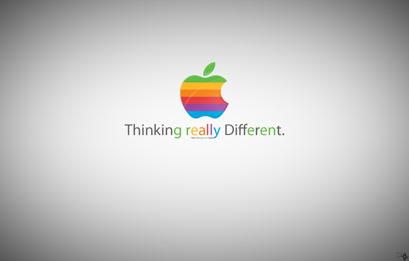 Photo wallpaper apple, greener apple, thinking really different