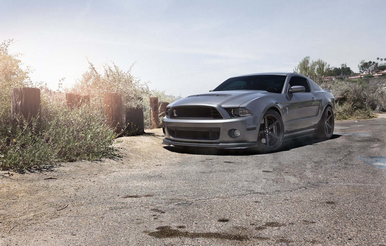 Photo wallpaper the sky, grey, mustang, Mustang, ford, shelby, Ford, front view, Shelby, grey, gt500, tinted