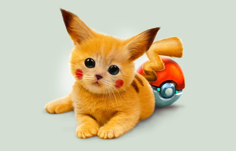 Photo wallpaper eyes, kitty, art, red, pokemon, Pikachu