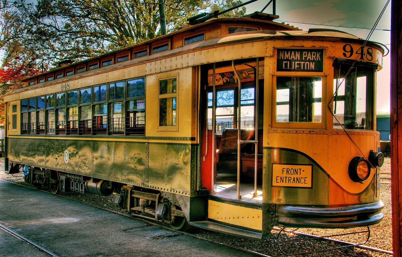 Photo wallpaper retro, rails, tram