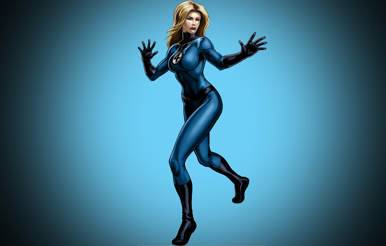 Photo wallpaper girl, background, blonde, costume, comic, marvel, Marvel Comics, Fantastic Four, The Invisible Woman, Fantastic Four, …