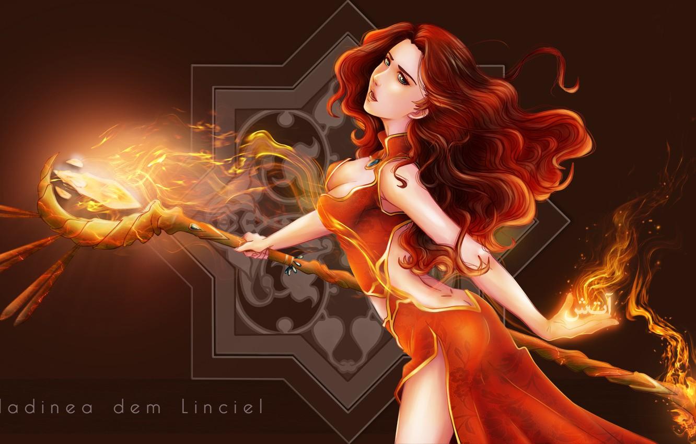 Photo wallpaper girl, fiction, magic, staff