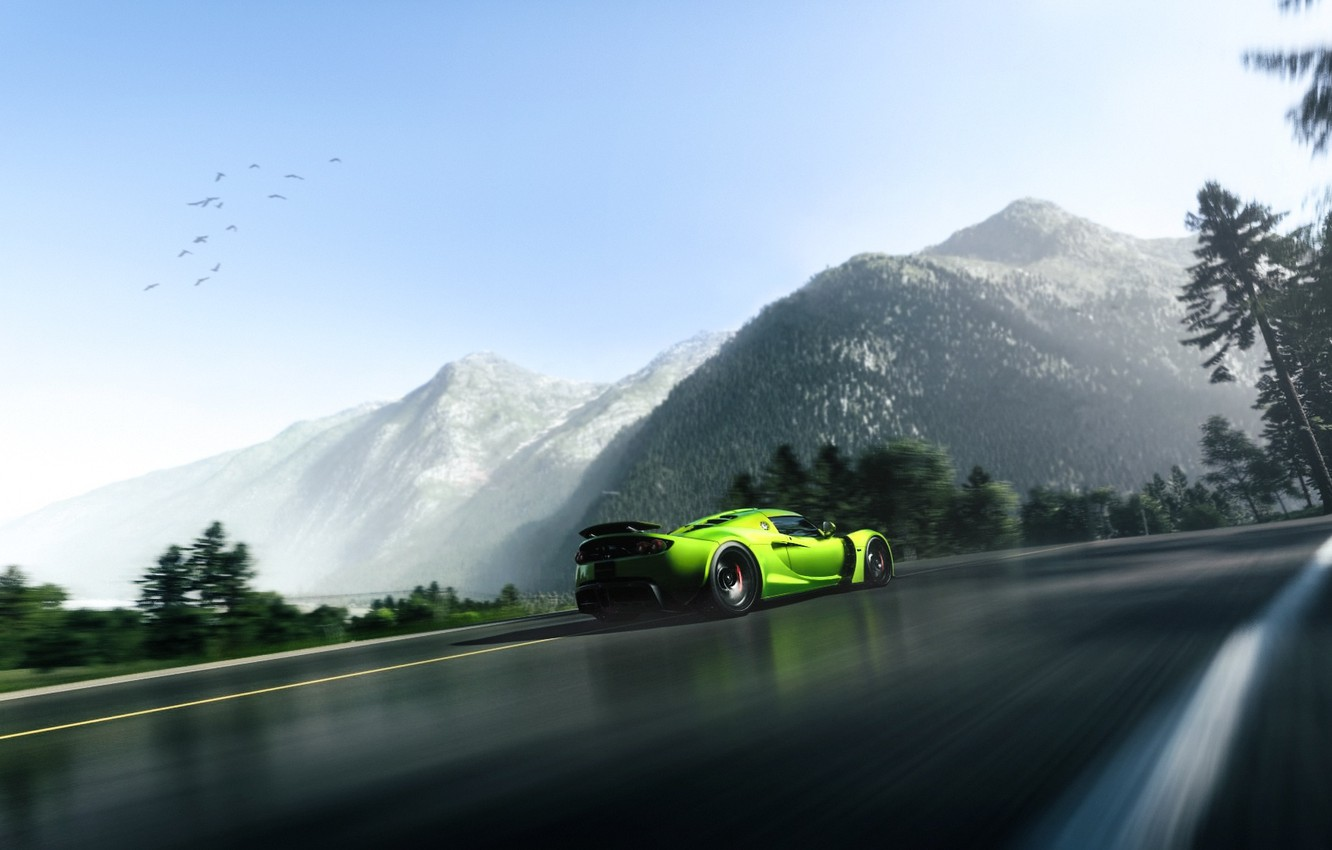 Photo wallpaper Green, Mountain, Hennessey, Supercar, Venom, Rear