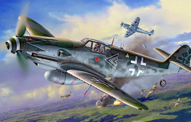 Photo wallpaper figure, art, attack, Messerschmitt, Air force, Il-2, interception, single-engine piston fighter-low, Gustav, Erla, Bf.109G-10
