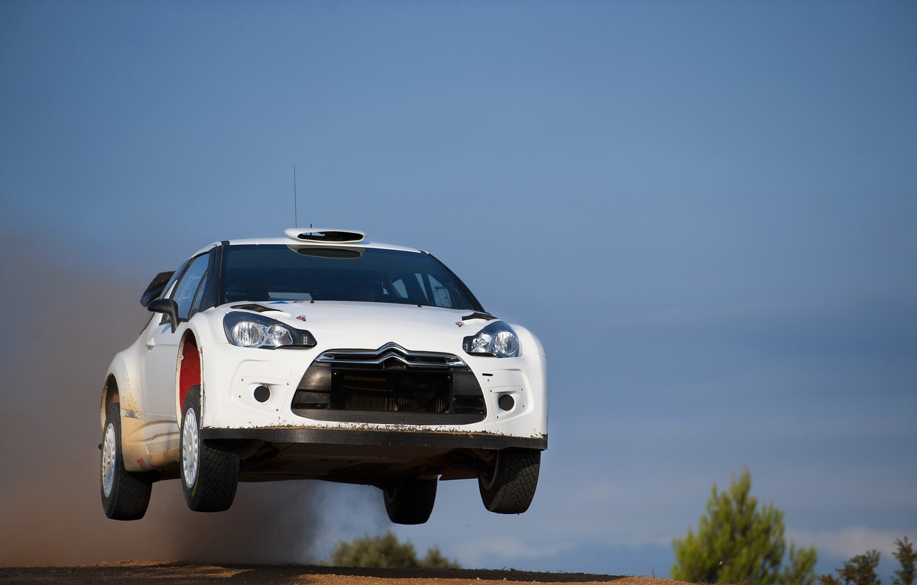 Photo wallpaper The sky, White, Speed, Citroen, DS3, In The Air