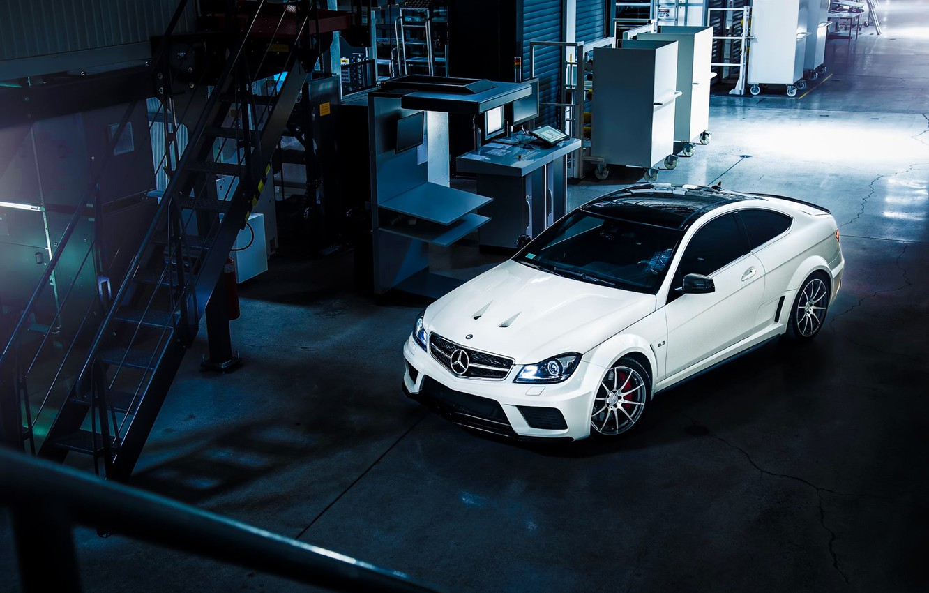Photo wallpaper Mercedes-Benz, AMG, Black, Color, White, Series, View, C63, Top, Ligth