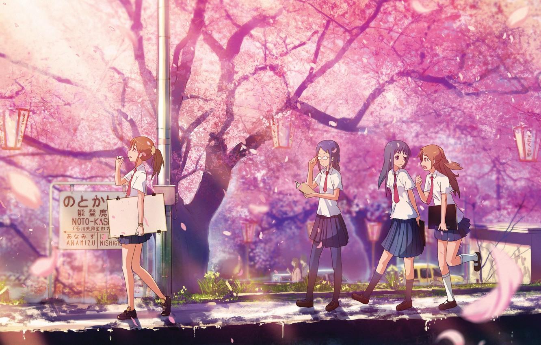 Photo wallpaper Park, spring, Sakura, lights, tie, form, Schoolgirls, flowering, friend, lipetski