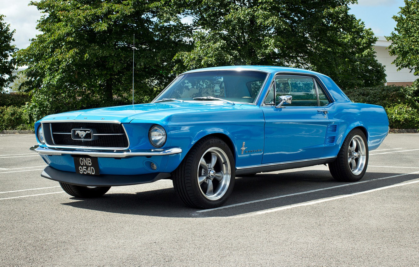 Photo wallpaper blue, Mustang, Ford, muscle car, the front, Muscle car
