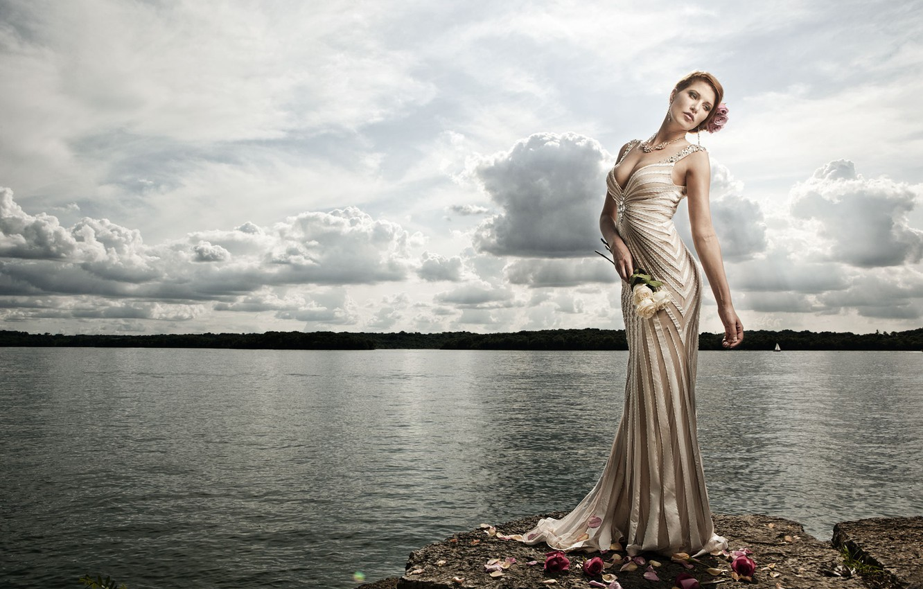 Photo wallpaper water, flowers, pose, lake, style, model, roses, figure, dress, The Work Holmes
