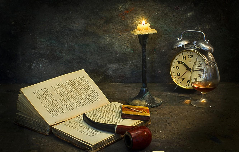 Photo wallpaper style, photo, watch, glass, candle, matches, tube, alarm clock, book, cognac, Mostapha Merab Samii