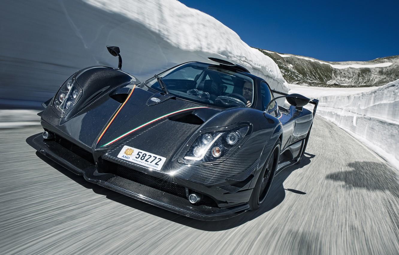 Photo wallpaper supercar, Pagani, supercar, Zonda, the front, fast, Pagani, carbon fiber, 750 LM
