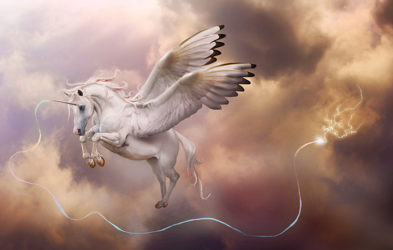 Photo wallpaper the storm, clouds, magic, lightning, wings, art, unicorn, Pegasus, in the sky, horn
