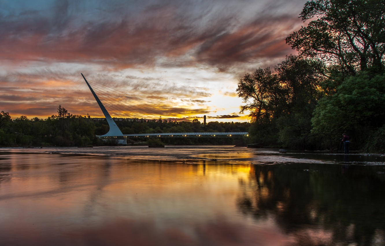 Photo wallpaper the sky, clouds, trees, bridge, nature, the city, reflection, river, dawn, morning, CA, USA, Sacramento, …