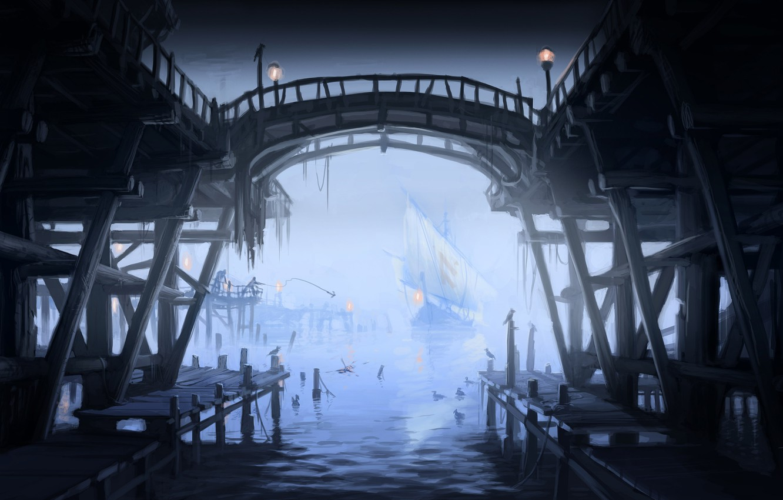 Photo wallpaper Marina, seagulls, ships, port, lights, sailboats, Skyrim, concept art, The Elder Scrolls V