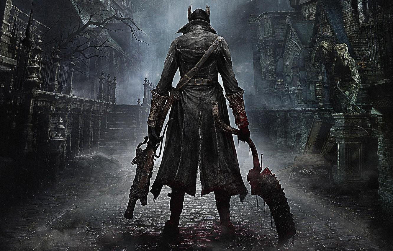 Photo wallpaper The city, Blood, Weapons, Cloak, Hunter, PlayStation 4, PS4, 2015, From Software, Bloodborne