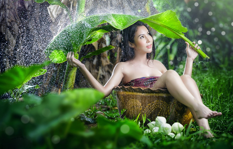 Photo wallpaper girl, sheet, umbrella, rain, mood, the situation, Asian, the barrel