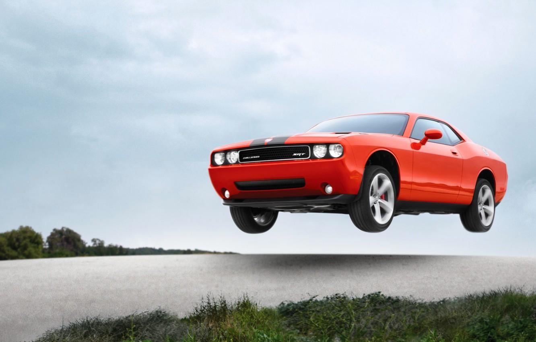 Photo wallpaper Auto, Machine, Speed, Orange, Dodge, SRT8, Challenger, in the air, Flies