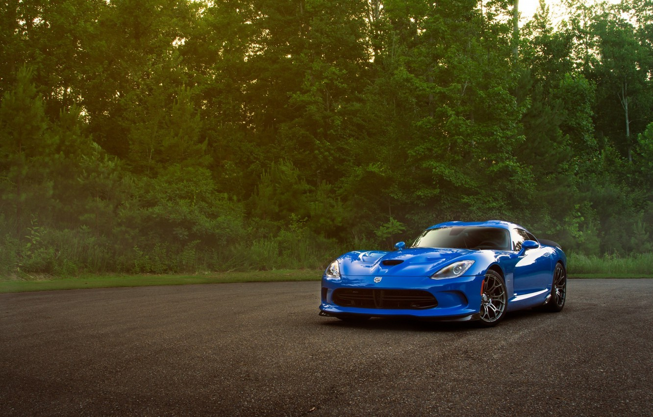 Photo wallpaper Dodge, Car, Viper, Blue, Front, Sport, SRT