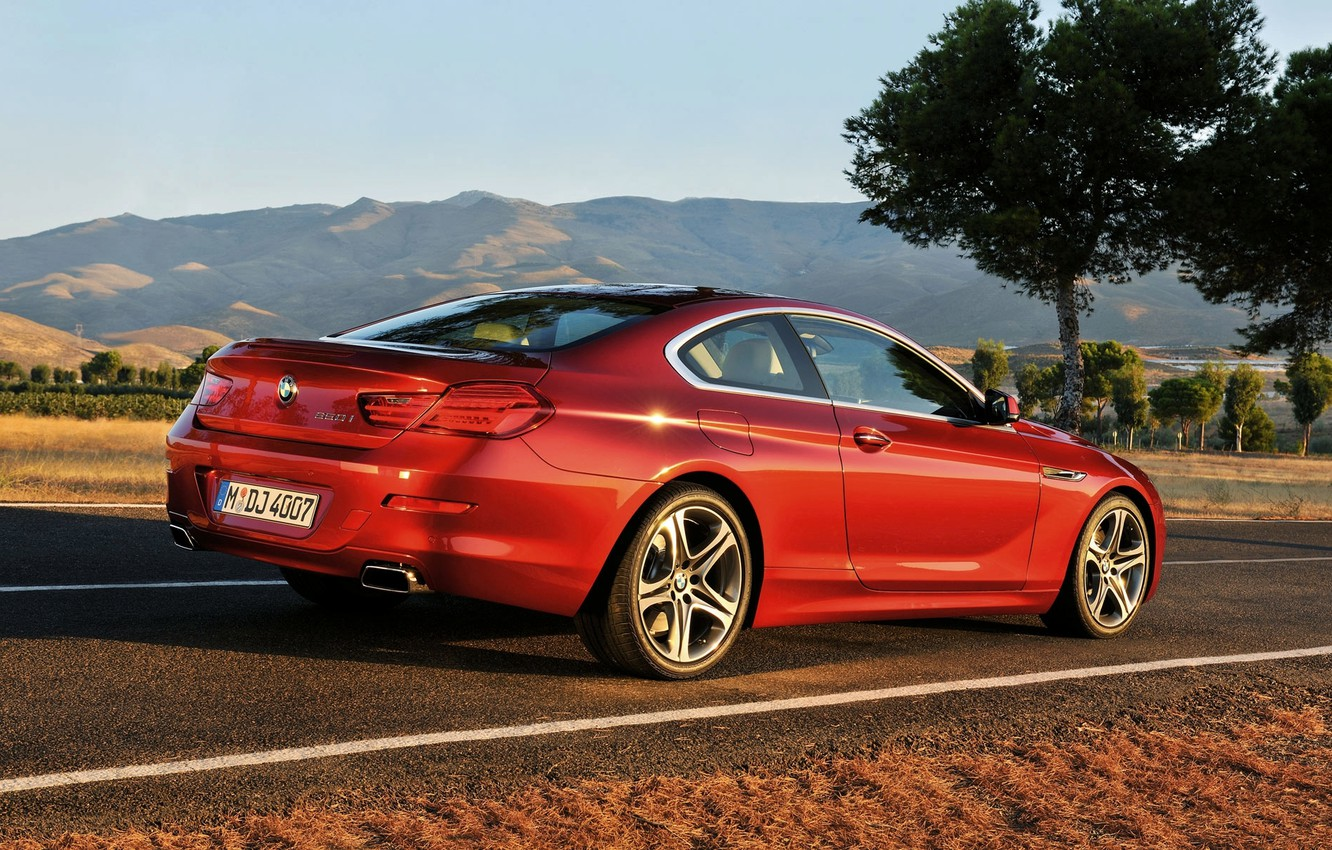 Photo wallpaper Red, Auto, Road, BMW, BMW, Coupe, 6 series