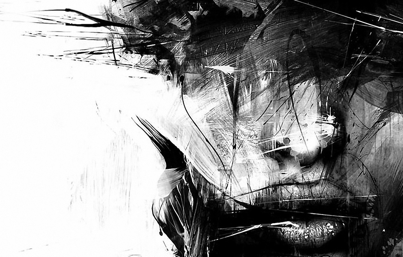 Photo wallpaper portrait, strokes, a blurry face