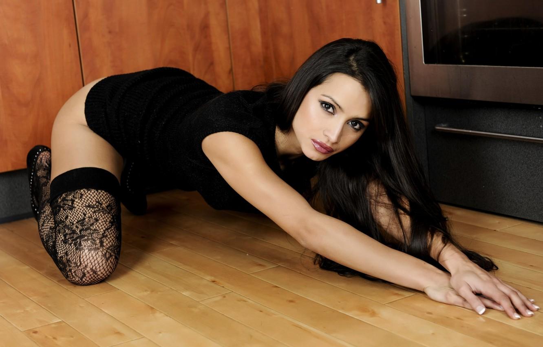 Photo wallpaper Girl, Look, Face, Pose, Hands, Brunette, Stockings, Chelsea French