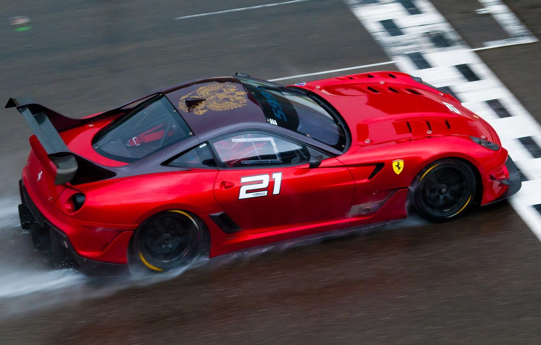 Photo wallpaper red, race, Ferrari, red, Ferrari, track, 599, rain, race, finish, back, 599XX evo, finish