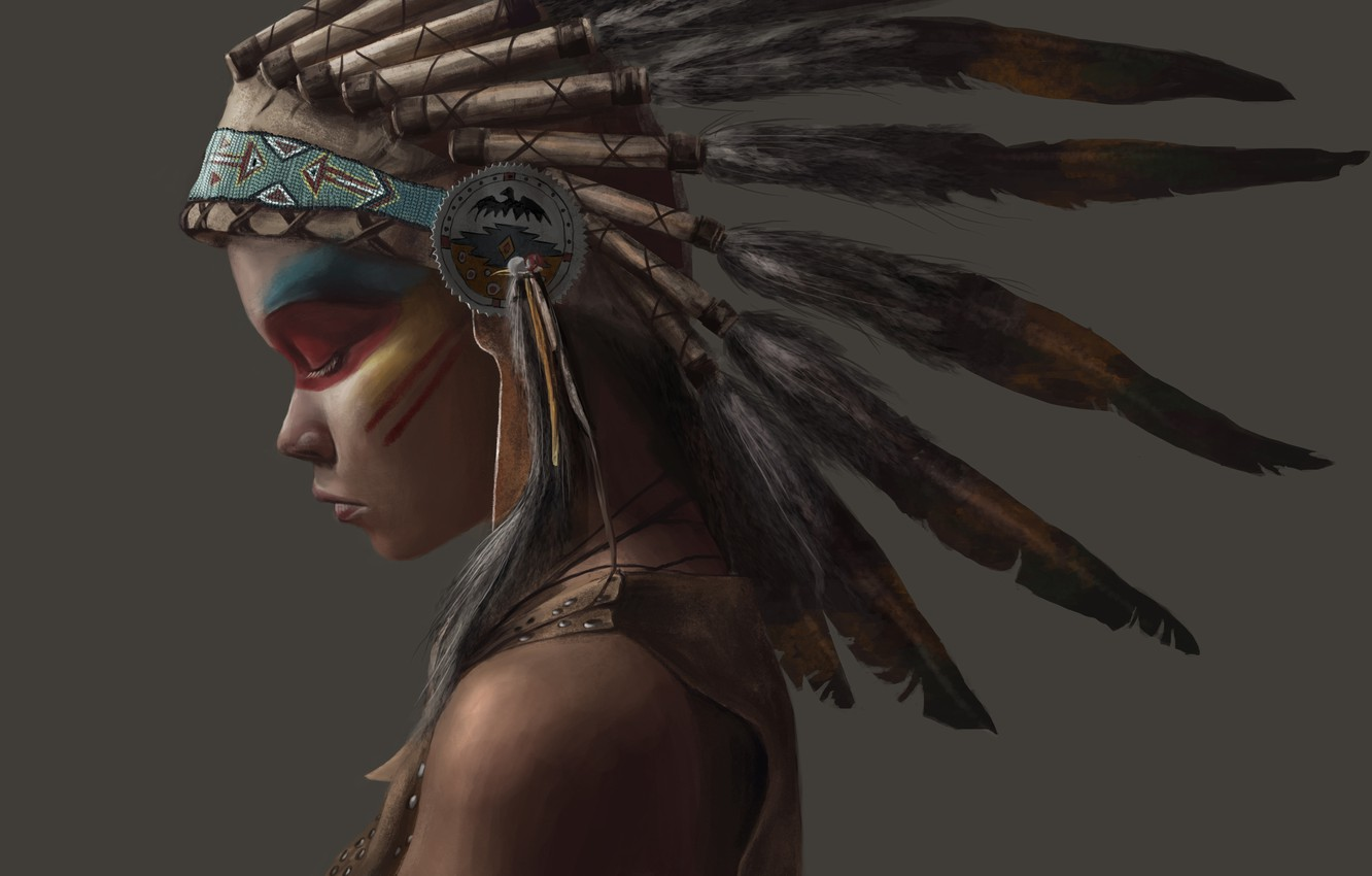 Photo wallpaper girl, style, feathers, Indian, indian, Indian
