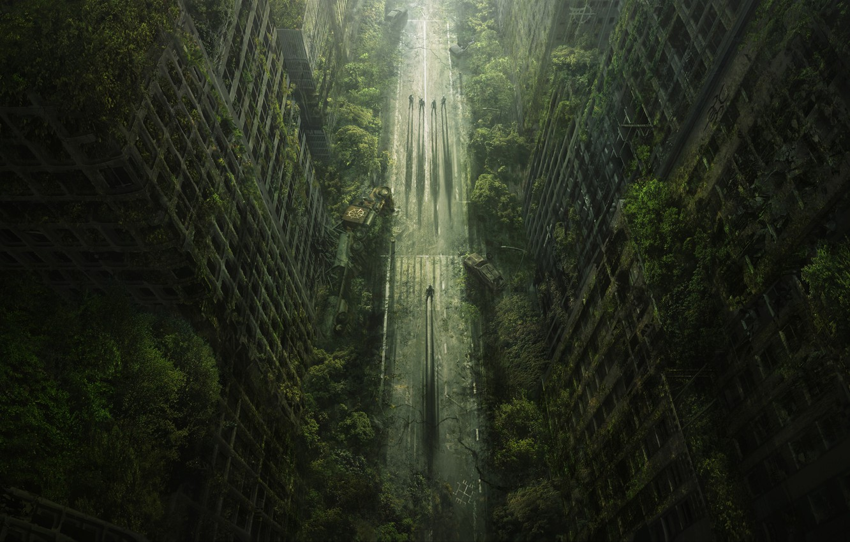 Photo wallpaper road, trees, the city, Apocalypse, Heath, Wasteland 2