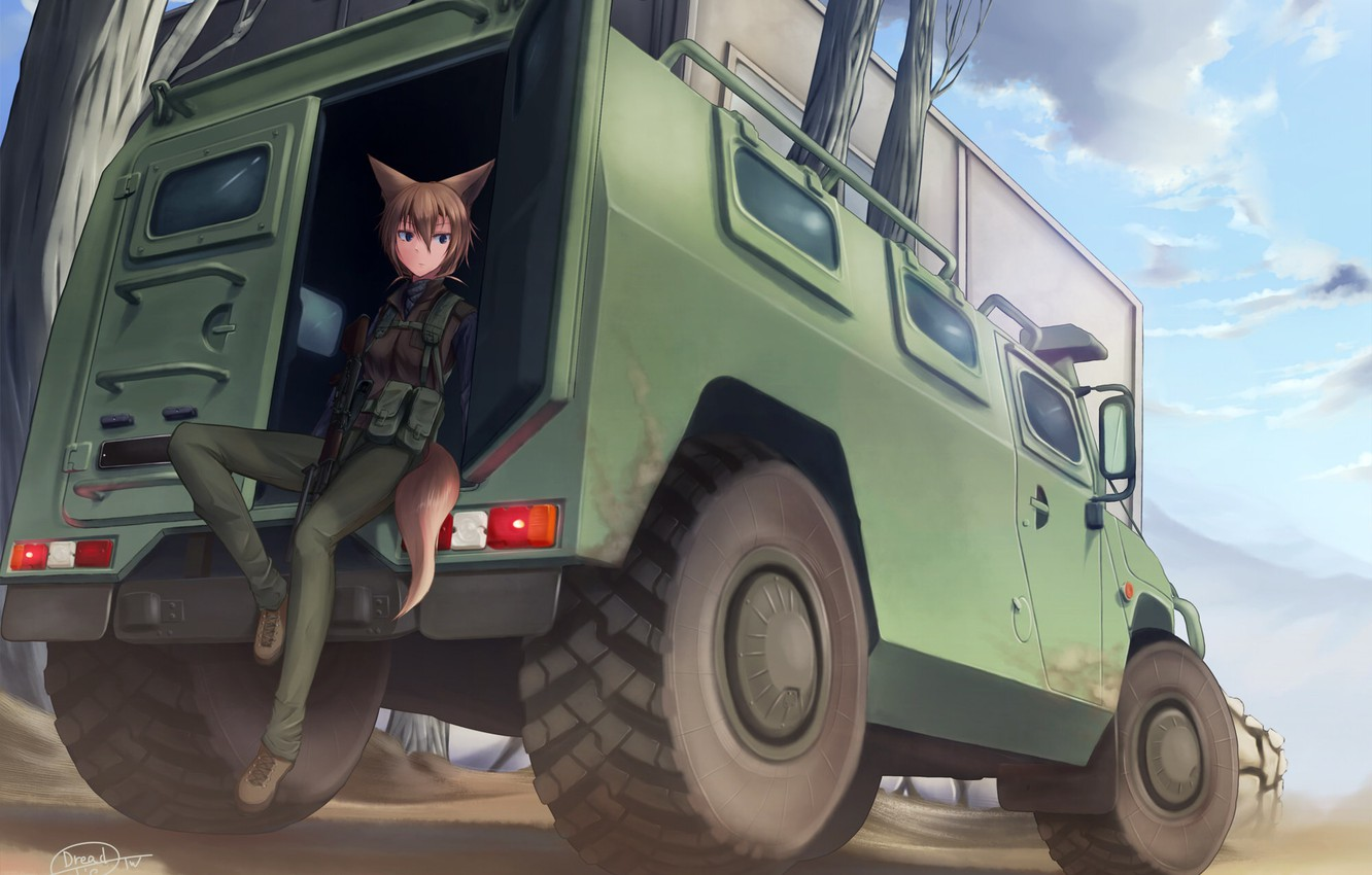 Photo wallpaper machine, the sky, girl, clouds, weapons, anime, art, tail, ears, dreadtie