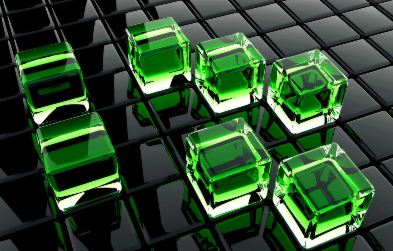 Photo wallpaper glass, green, cubes