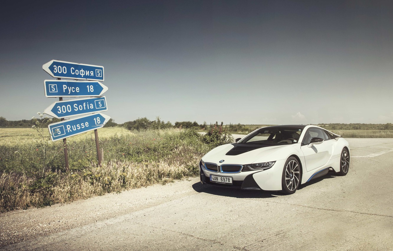Photo wallpaper the sky, shadow, wheel, front, solar, BMW i8, signs