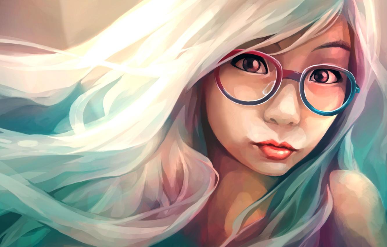 Photo wallpaper girl, face, art, glasses
