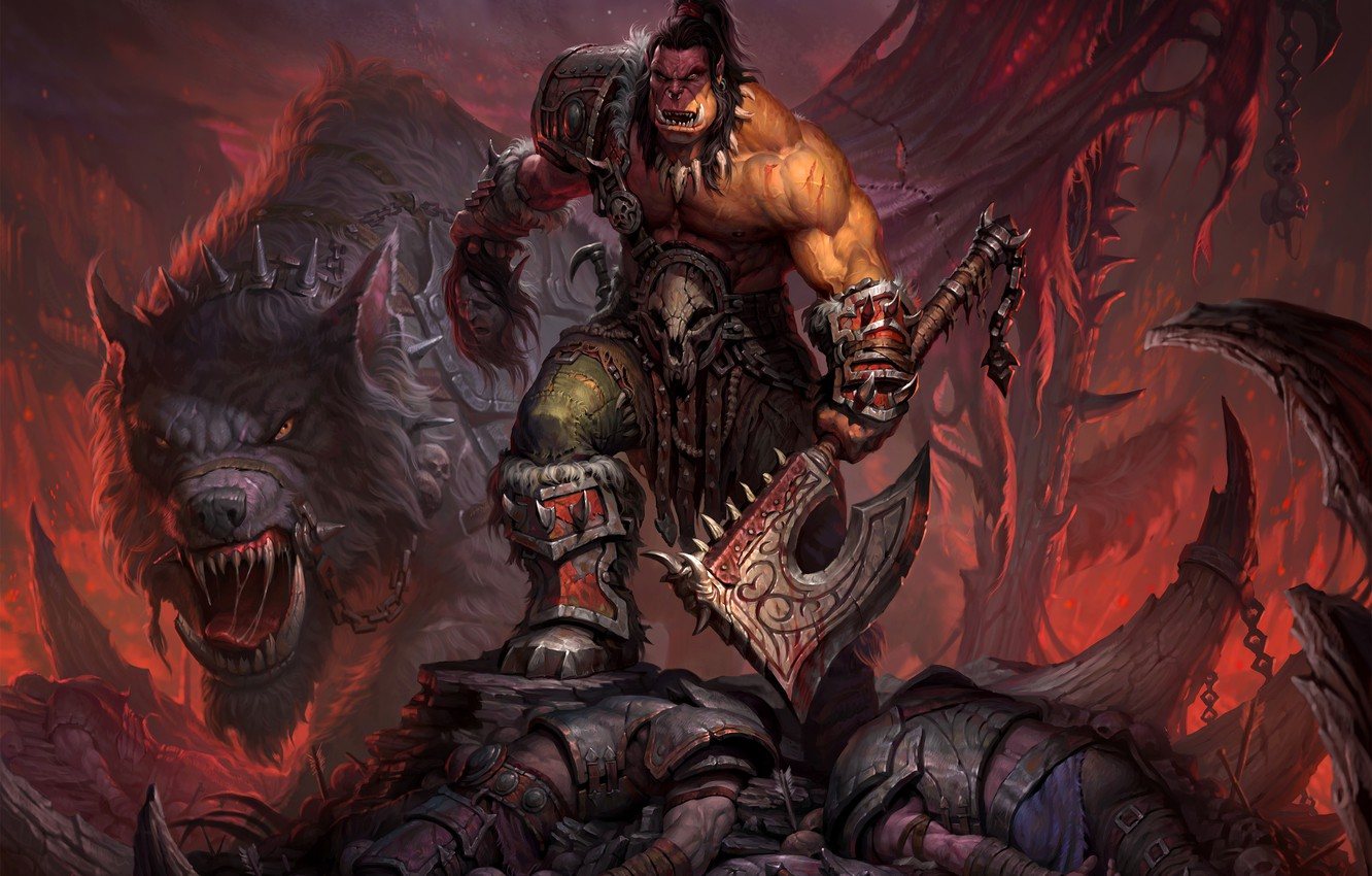 Photo wallpaper wolf, warrior, World of Warcraft, axe, chain, Warcraft, Orc, wow, warlords of draenor, Grommash Hellscream