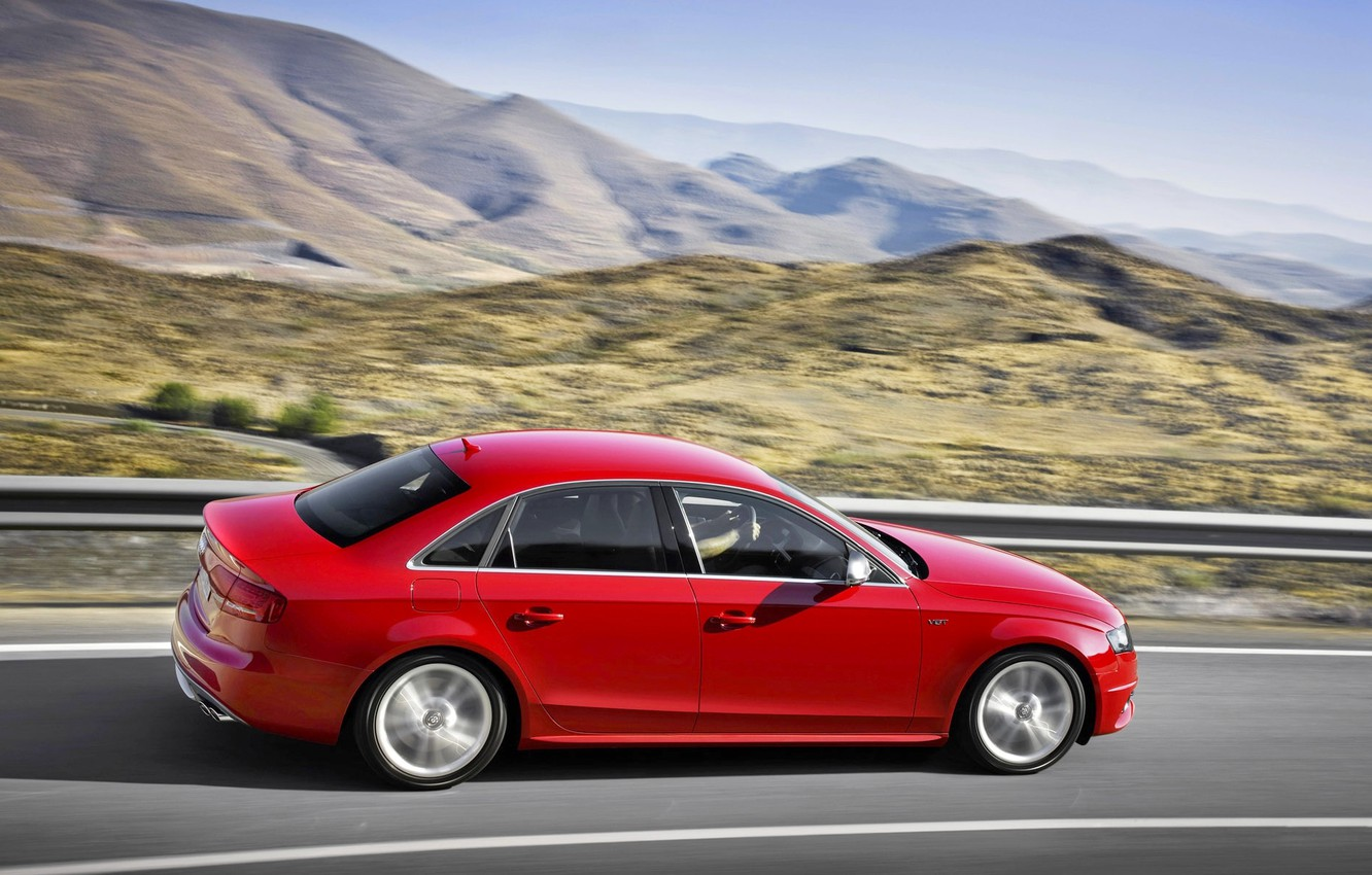 Photo wallpaper Audi, Red, Auto, Road, Mountains, Audi, In Motion