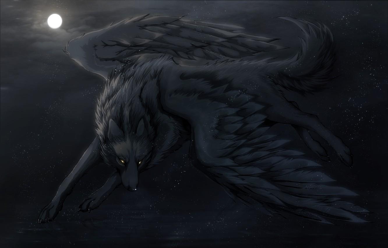 Photo wallpaper night, the moon, wings, art, Wolf, art, Night Dreams, Dark_Sheyn