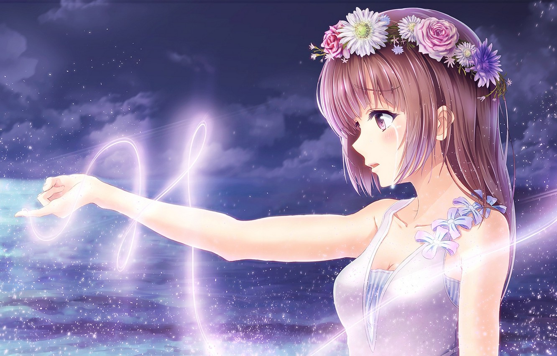 Photo wallpaper the sky, girl, clouds, flowers, night, magic, anime, tears, art, wreath, alc