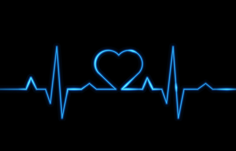 Photo wallpaper heart, blue, electro