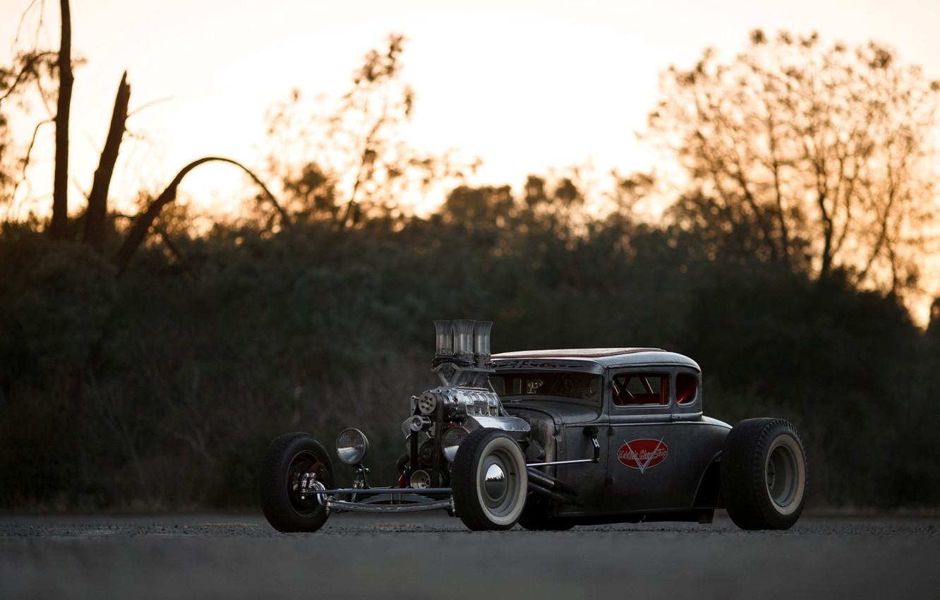 Photo wallpaper Ford, Hot Rod, Coupe, Rat Rod, Model A
