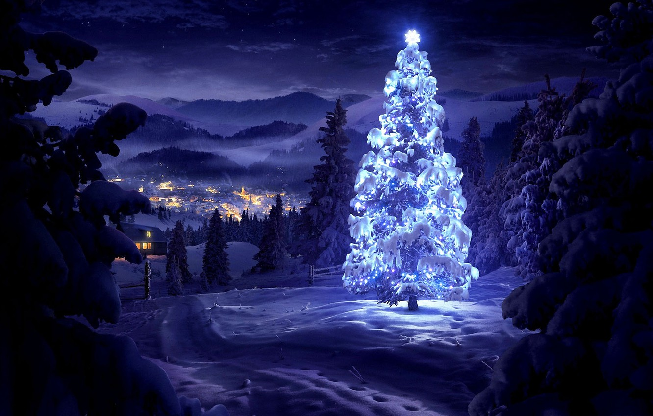 Photo wallpaper winter, snow, trees, landscape, mountains, night, nature, lights, home, valley, New Year, Christmas