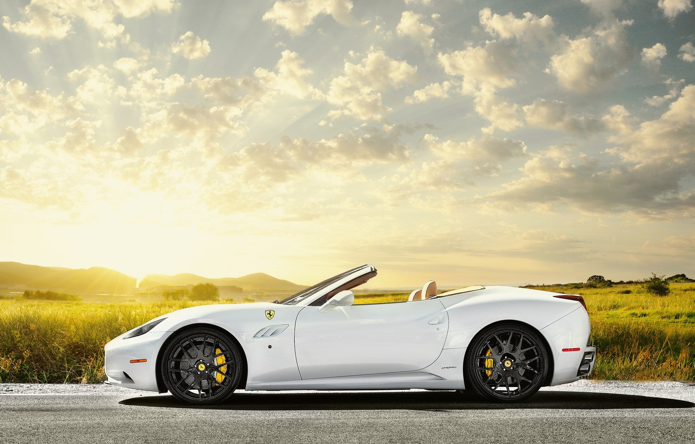 Photo wallpaper field, the sky, the sun, white, Ferrari, white, Ferrari, Blik, California, profile