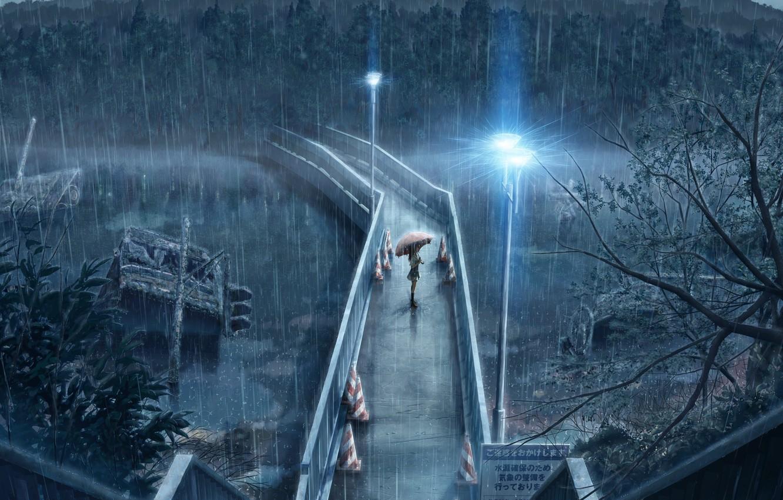 Photo wallpaper girl, bridge, umbrella, rain, lights, waiting, Rainy day, pouring
